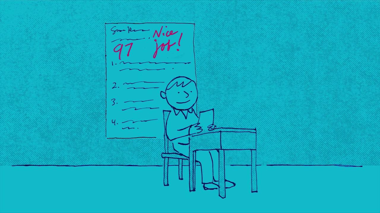 Boy taking test at desk